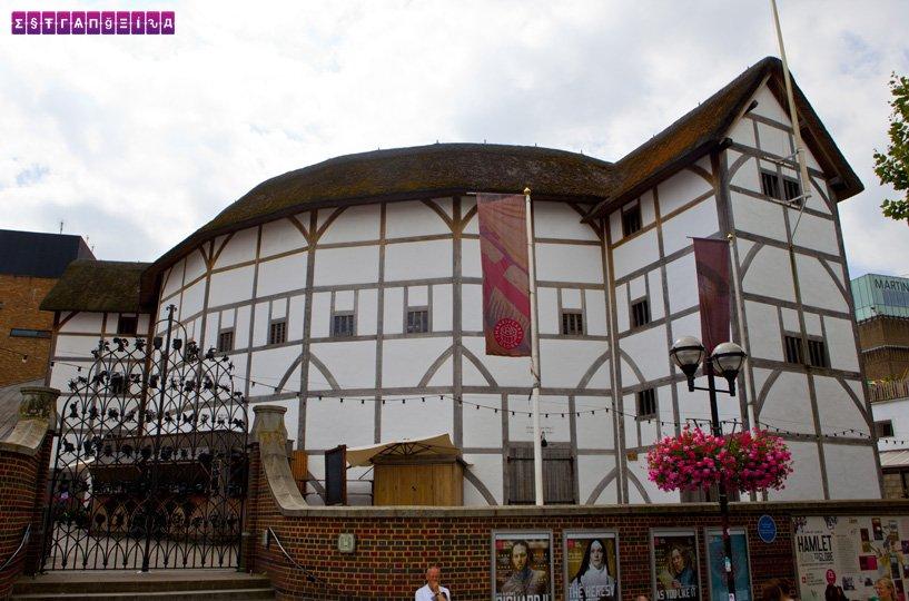 O lado de fora do Shakespeare Globe, em Londres