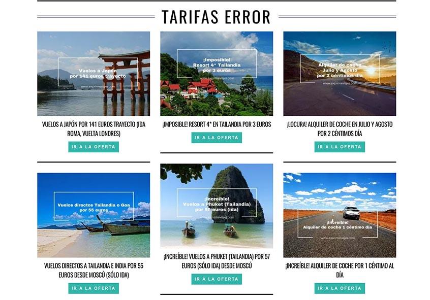 Viajar barato com Tarifas erradas